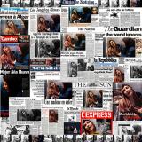 Pascal Convert, Montage von Tageszeitungen und Magazinen.1997 (Pressefoto vom Hocine Zaourar/AFP)