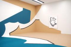 Collage, 2016 Wandmalerei, Teppichintarsie, Papiercollage, Fotografie Ausstellungsansicht: Frauke Dannert. Collage Kunstmuseum Luzern, Luzern Foto: Studio Frauke Dannert